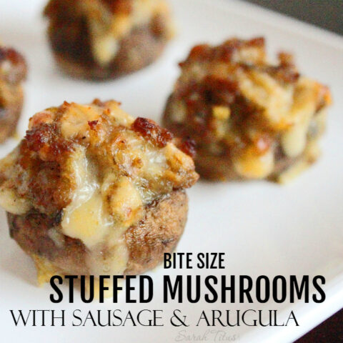 Bite Size Stuffed Mushrooms with Sausage and Arugula