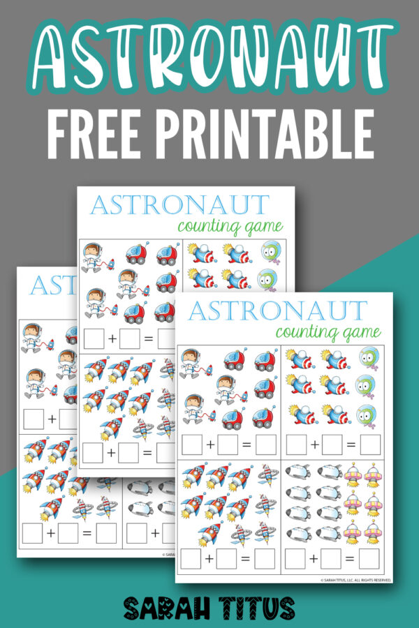 Astronaut Free Printable Counting Game