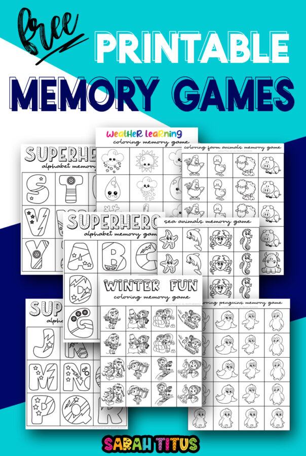 Here are the cutest free printable memory games for boys! These black and white templates are colorable and include superhero, sea animals, farm animal designs and more!