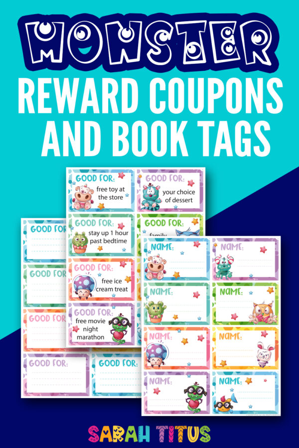 Fun monster reward coupons and book tags.
