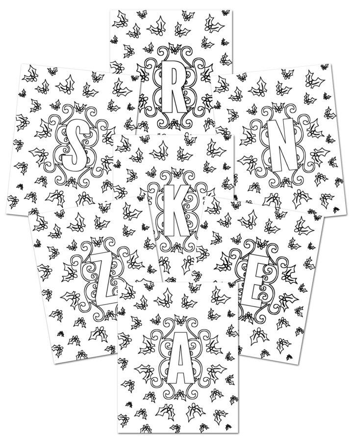 Printable Christmas Coloring Monograms