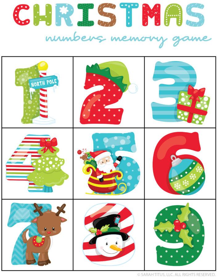 Christmas Numbers Memory Game