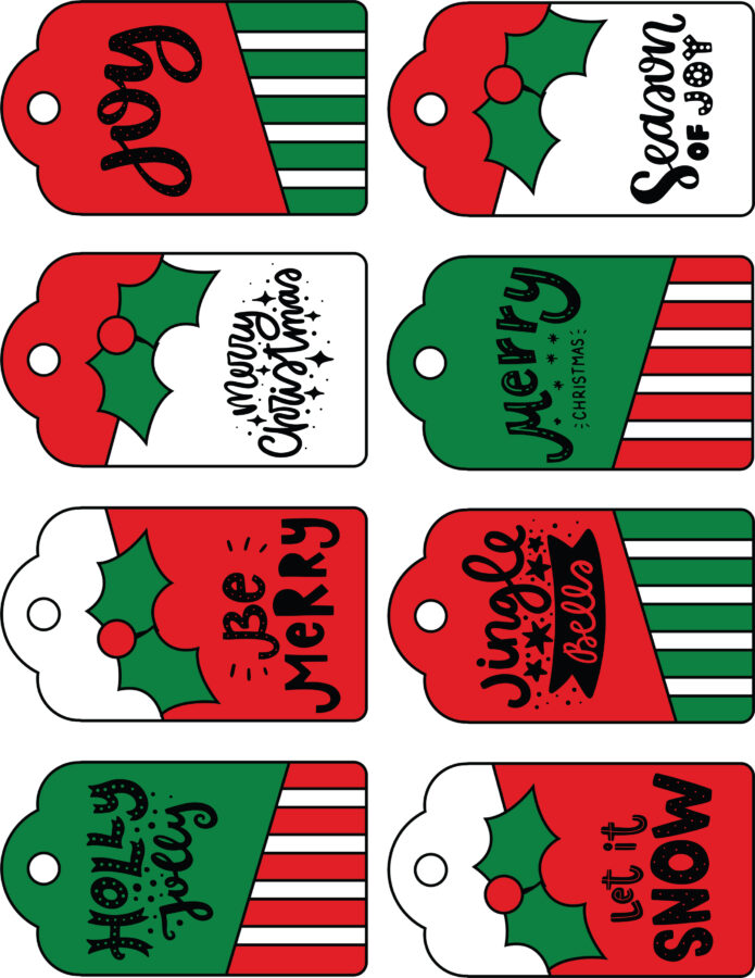 CHRISTMAS RED GREEN WHITE GIFT TAGS