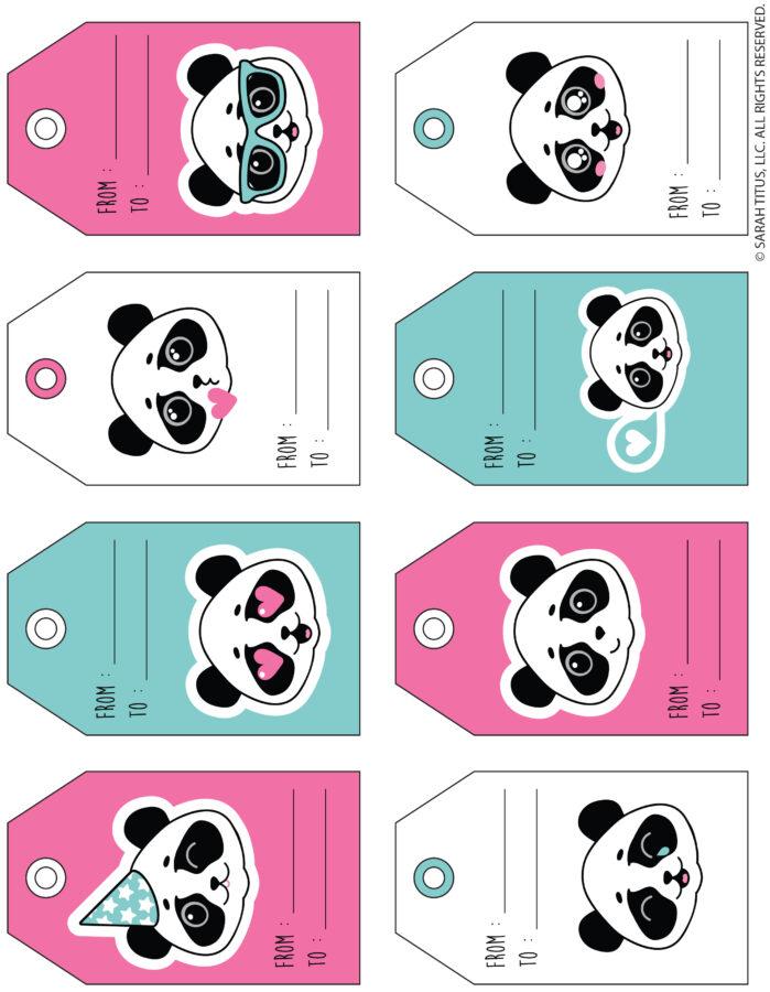 Cute Pandas Valentine Gift Tags