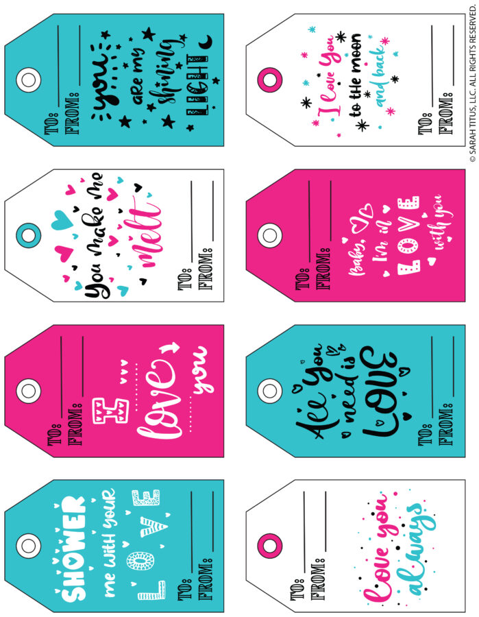 Cute Printable Gift Tags for Valentine's Day