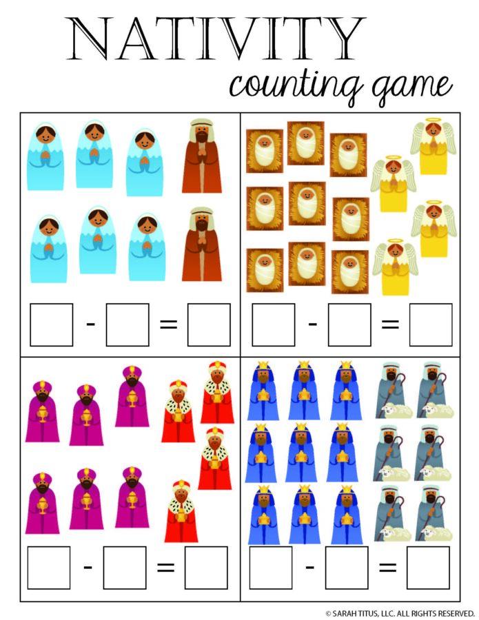 Christmas Nativity Math Subtraction Game