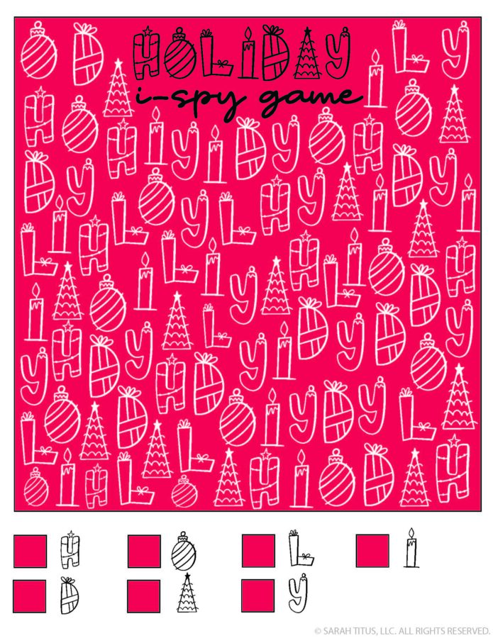 Holidays Christmas Printable I-Spy Game
