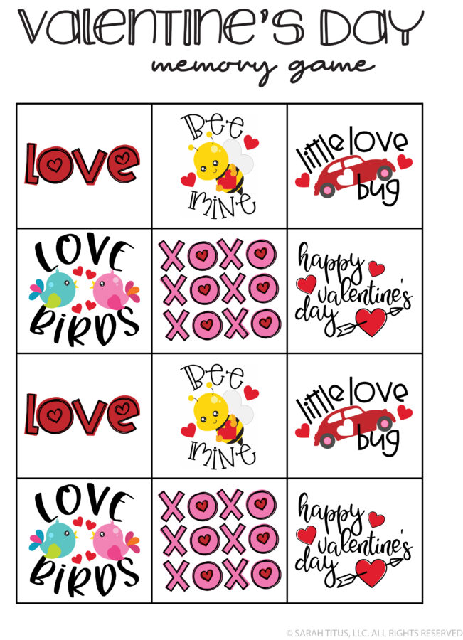 Valentine's Day Memory Game