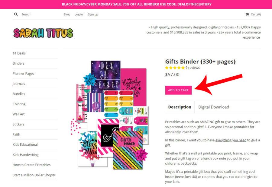 Gift Binder Add to Cart Button