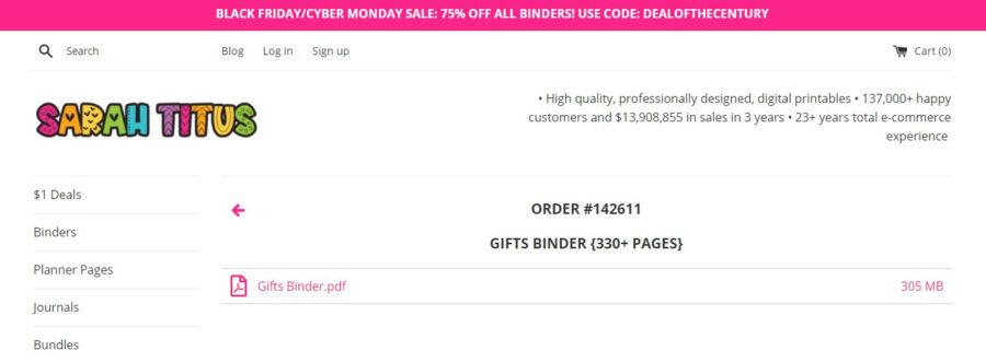Gift Binder Download Area