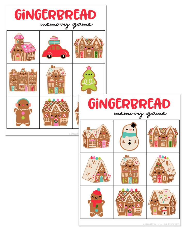 Gingerbread Christmas Memory Games