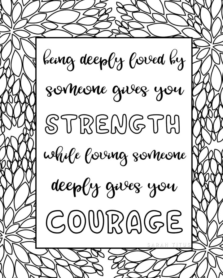 Love Strength Courage Coloring Sheet