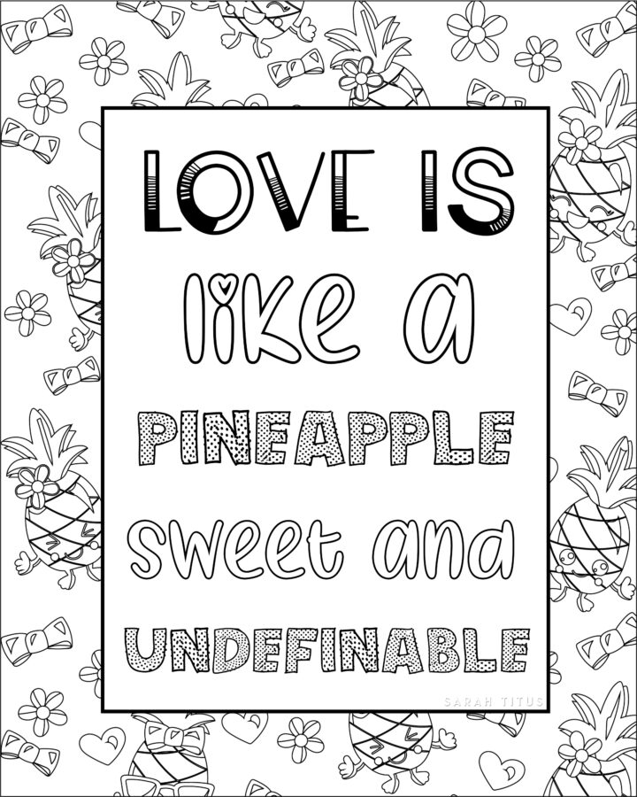 Love is Like Coloring Sheet