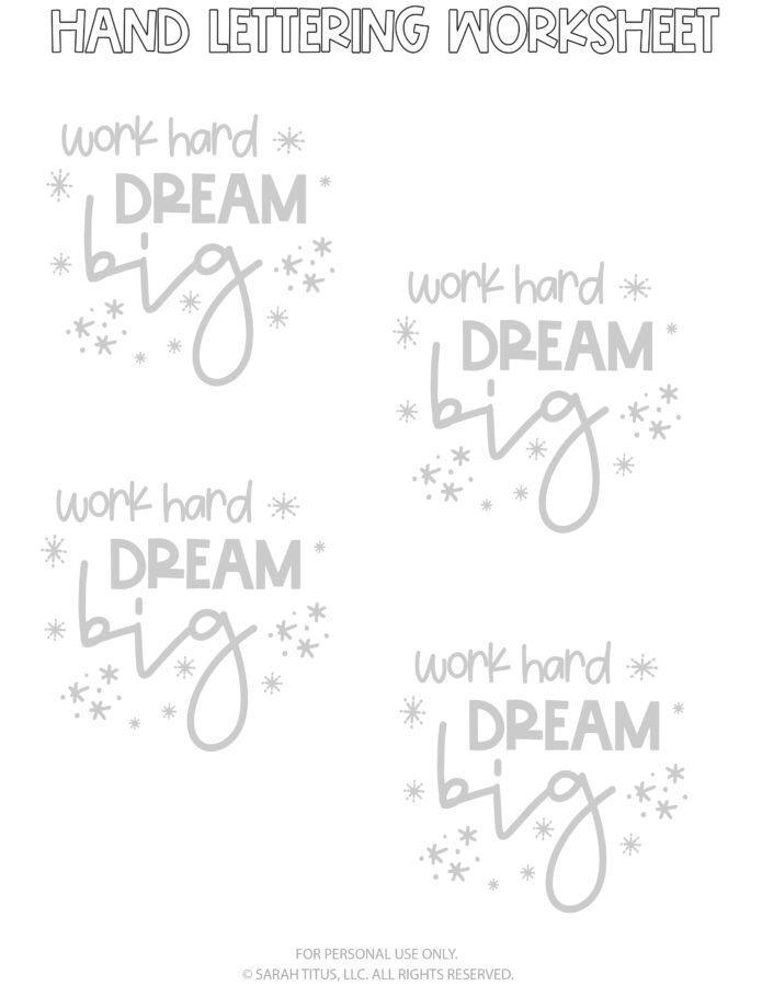 Hand Lettering Worksheets Page 4