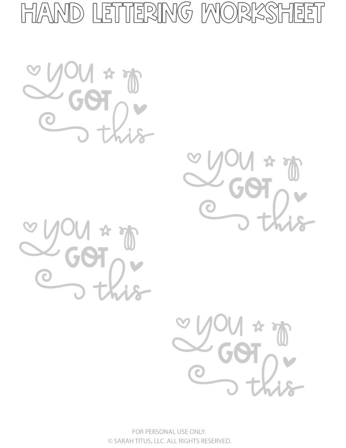 Hand Lettering Worksheets Page 7