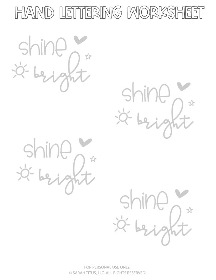 Hand Lettering Worksheets Page 8