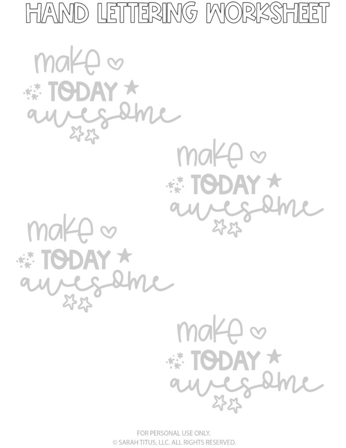 Hand Lettering Worksheets Page 9