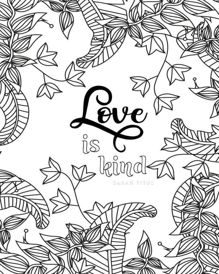 Love is Kind Coloring Page