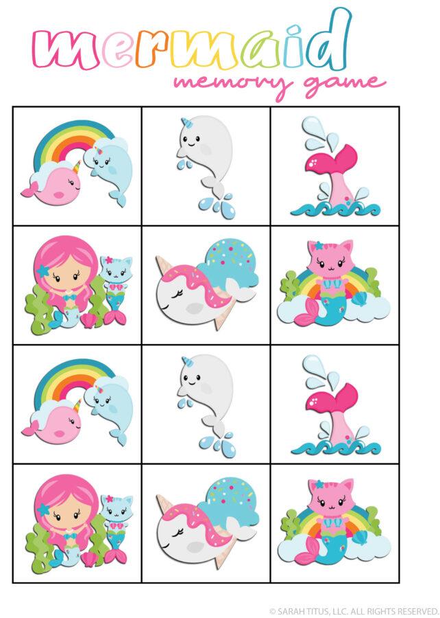 Memory Games Printable Mermaid