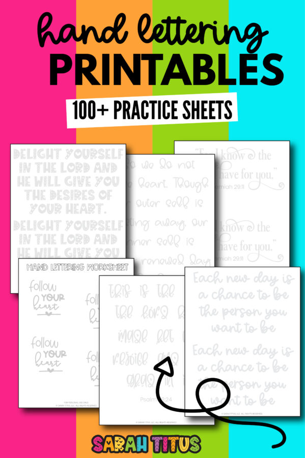 Looking for free hand lettering practice sheets? Here's 100+ free printables for beginners & more to practice handwriting & calligraphy skills! Includes encouraging, motivational, scripture, holiday themed & inspirational quotes!