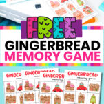 This gingerbread memory game is perfect for first grade, 2nd grade, kindergarten, preschool, and even great for a toddler! Such cute art, your kids are going to LOVE having this fun game for the holidays! You can also use these printables at a party!!! That would be so much fun!