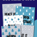 This super fun Christmas printable wall art decorations in blue and gray are the perfect solution to decorating your home this holiday season! Includes signs like Merry and Bright, Let it Snow, and more! #pdf #template