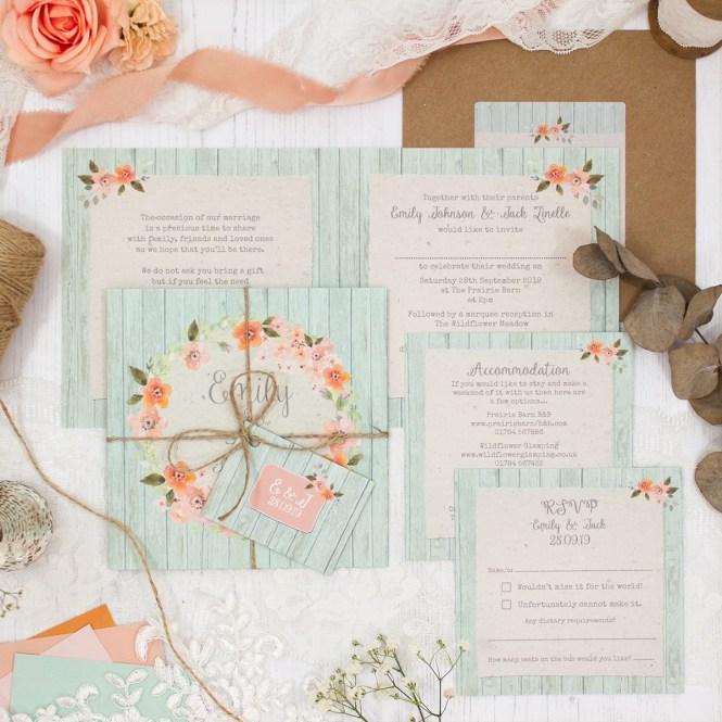 Prairie Peach Wedding Invitation Sample Sarah Wants Stationery