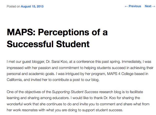 MAPS: Perceptions of a Successful Student
