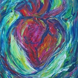 valentine heart acrylic painting