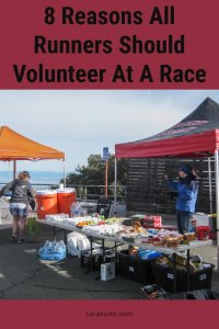 volunteers at a race setting up an aid station