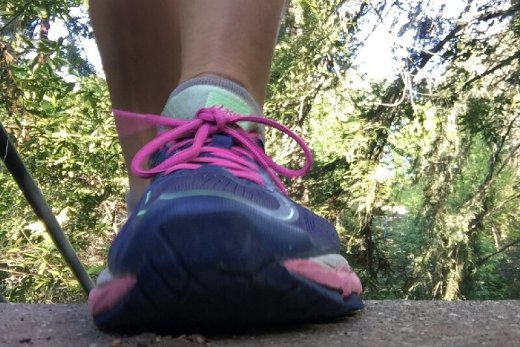 A foot in a running shoe