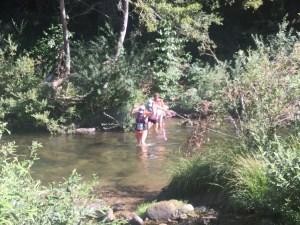 Trail running river crossing