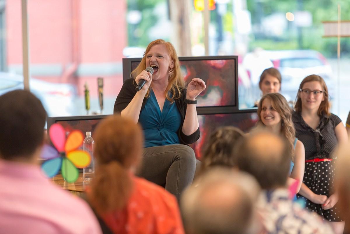 Sara Mackie singing at the 2019 Pride Cabaret - Photo by Mikki Schaffner