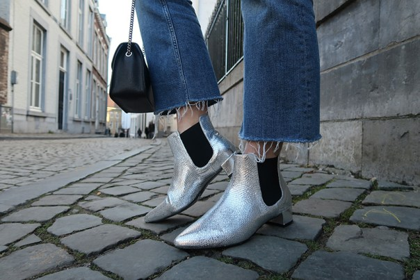 Shiny and new outfit silver topshop boots