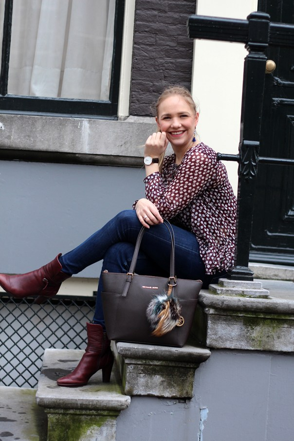 Bordeaux Scotch and Soda peplum blouse outfit OOTD Amsterdam