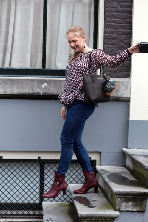 Bordeaux Scotch and Soda peplum blouse outfit OOTD Amsterdam1