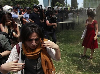 Teargas Girl in Red