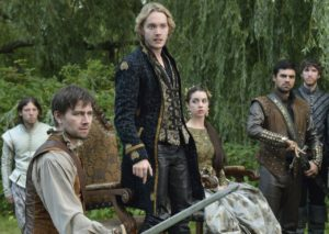 "Da sinistra: Bash, Francis, Mary, Condé - in ""Reign"""