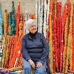 Sheila Hicks in front of elements from The Treaty of Chromatic Zones, 2015. CRISTOBAL ZANARTU