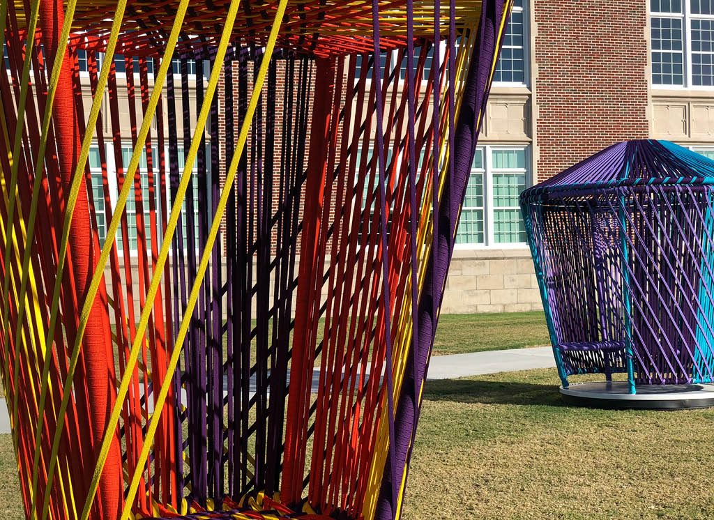 """Los Trompos by Esrawe and Cadena are """"Spinning tops"""" that are installed around the meander of Sarasota Art Museum"""