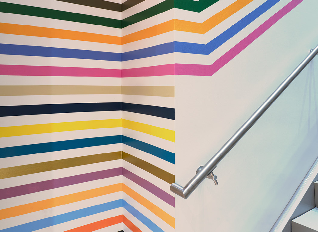 Leah Rosenberg's 28 Colors (Sarasota, FL) continues up the stairway at Sarasota Art Museum
