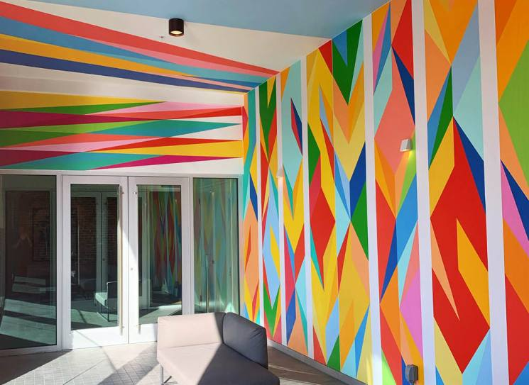 "Odili Donald Odita's ""Force Field"" is a a site specific installation for Sarasota Art Museum"