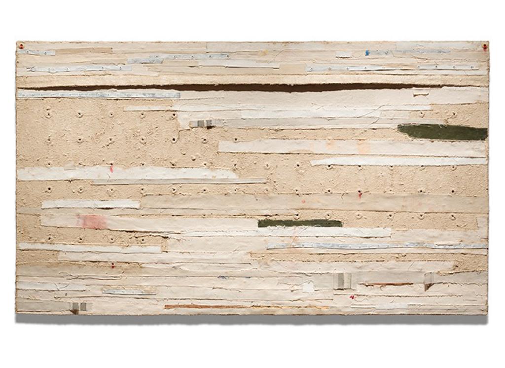 Harmony Hammond Bandaged Grid #1, 2015 Oil and mixed media on canvas 441⁄4h x 761⁄2w x 21⁄2d in. (112.40h x 194.31w x 6.35d cm) Courtesy of the artist and Alexander Gray Associates, New York © Harmony Hammond / VAGA at Artists Rights Society (ARS), NY