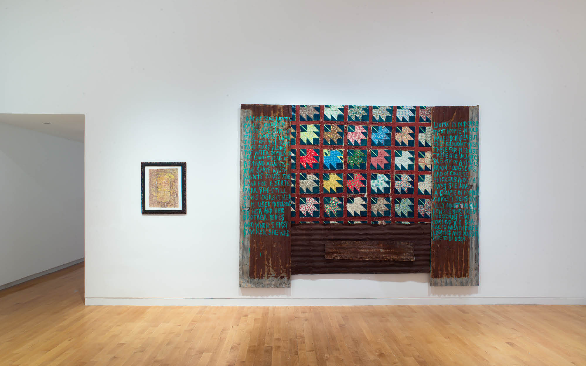 Harmony Hammond, Material Witness: Five Decades of Art, The Aldrich Contemporary Art Museum, March 3 to September 15, 2019 (installation view, left Chicken Lady: The Intention to Know, 1983; right, Chicken Lady, 1989) Courtesy of the artist and Alexander Gray Associates, New York Photo: Jason Mandella © Harmony Hammond / VAGA at Artists Rights Society (ARS), NY