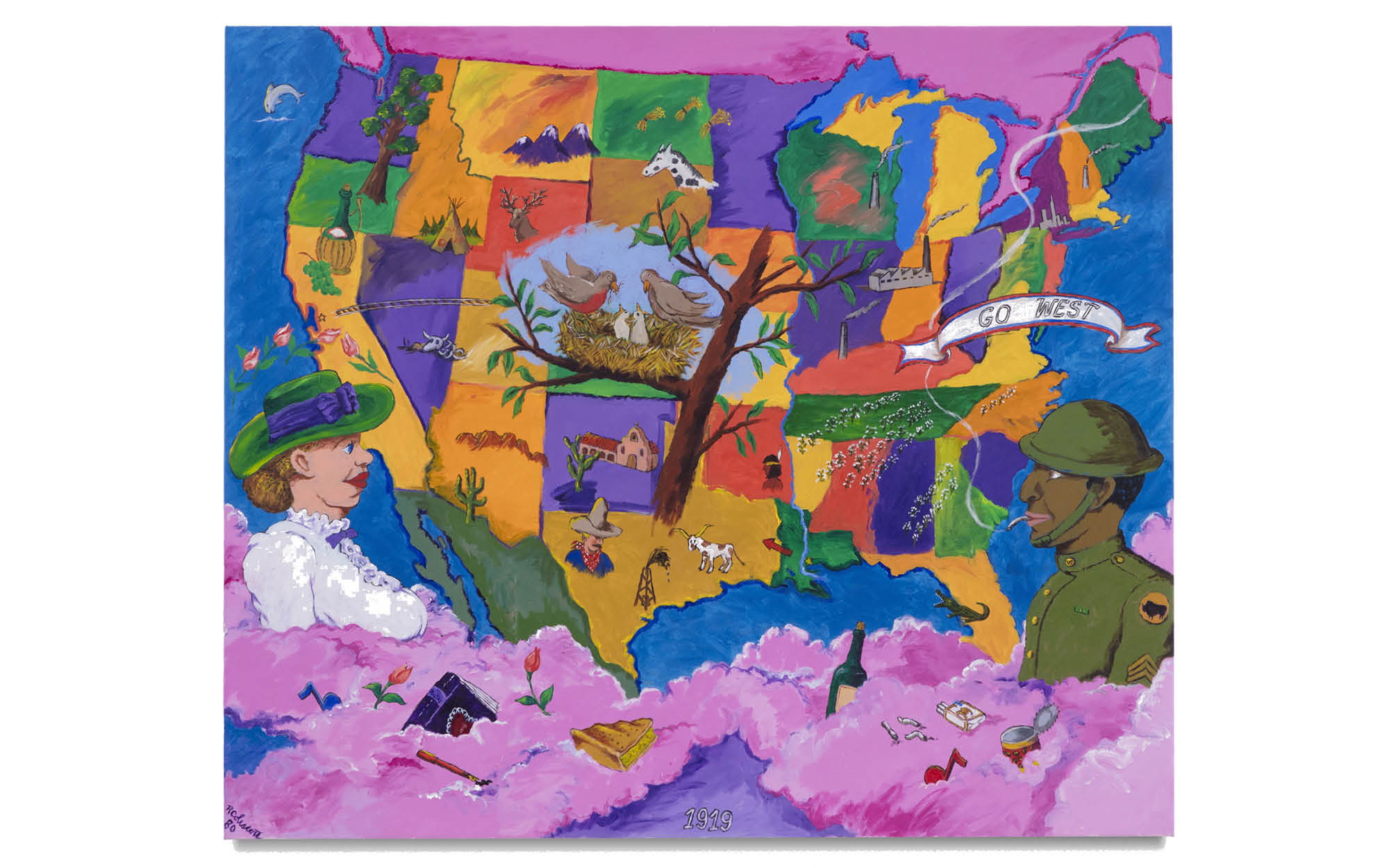 Robert Colescott,1919 (1980), Acrylic on canvas, 71 3/4 x 83 7/8 inches © 2021 Estate of Robert Colescott / Artists Rights Society (ARS), New York. Courtesy of the Estate and Blum & Poe, Los Angeles/New York/Tokyo Photo Credit: Joshua White