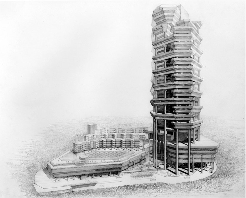Rendering by Rudolph of the Concourse, Singapore 1981-1994 Source: Paul Rudolph Heritage Foundation