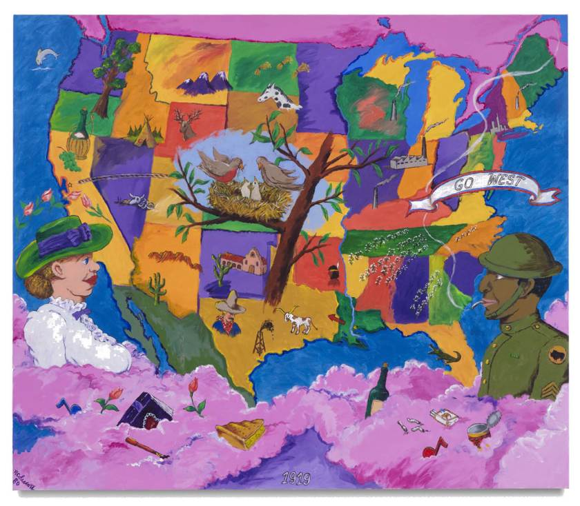 Robert Colescott,1919, 1980, Acrylic on canvas, 71 3/4 x 83 7/8 inches © 2021 Estate of Robert Colescott / Artists Rights Society (ARS), New York. Courtesy of the Estate and Blum & Poe, Los Angeles/New York/Tokyo Photo Credit: Joshua White