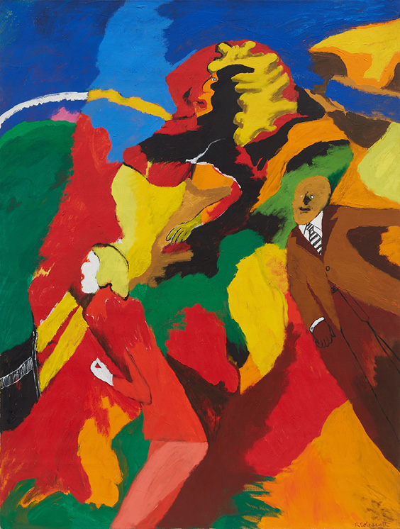 Robert Colescott, Dr. Ehrlich's Magic Bullet, 1968, Acrylic on canvas, © 2021 The Robert H. Colescott Separate Property Trust / Artists Rights Society (ARS), New York, Courtesy of The Robert H. Colescott Separate Property Trust and Blum & Poe, Los Angeles/New York/Tokyo