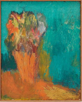 Robert Colescott, Flowers, 1958-1959, Oil on canvas, © 2021 The Robert H. Colescott Separate Property Trust / Artists Rights Society (ARS), New York, Courtesy of The Robert H. Colescott Separate Property Trust and Blum & Poe, Los Angeles/New York/Tokyo