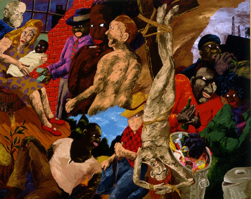 Robert Colescott, Knowledge of the Past is the Key to the Future: Upside Down Jesus and the Politics of Survival, 1987, Acrylic on Canvas, Portland Art Museum, Portland, Oregon, Museum Purchase: Robert Hale Ellis Jr. Fund for Blanche Eloise Day Ellis and Robert Hale Ellis Memorial Collection © 1987 Robert Colescott, 88.3